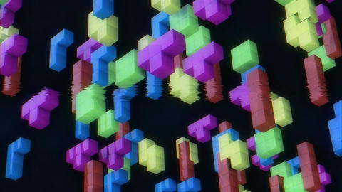 3d tetris game. Retro game concept. 80s Stock Video Footage