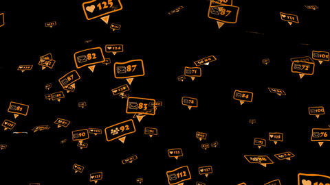 Orange icons of social media notifications Animation