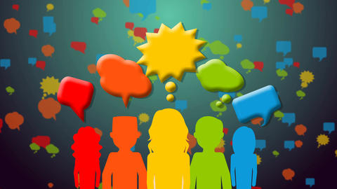 Group of people with speech bubbles Animation