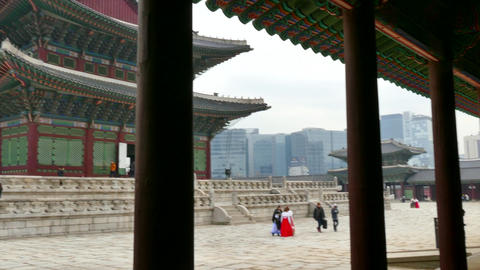 Gyeongbokgung Palace Korean Monument Landmark In Seoul South Korea Asia Live Action