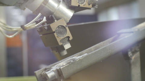 Robot Machine Arm Takes Meter Part from Conveyor Closeup Footage