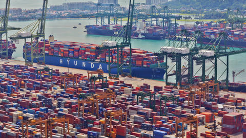 Timelapse of the port of Singapore, UHD 4K Footage