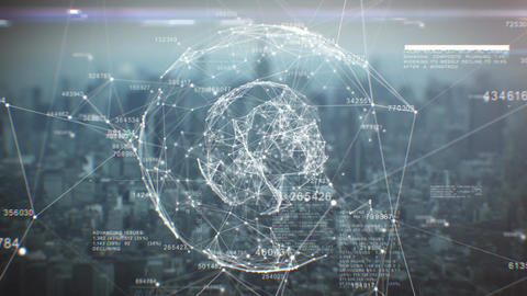 Abstract Global Business Hologram. Loop Animation of Moving Digital Network over Animation