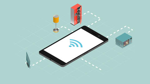 Home appliances connecting through smart phone Live Action