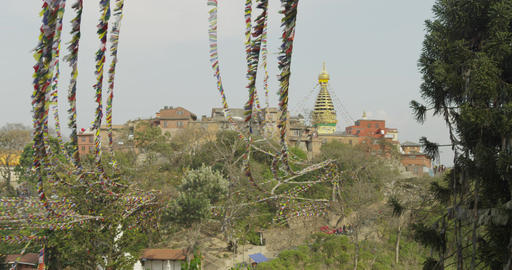 Prayer Flags at Swayumbunath Temple Footage