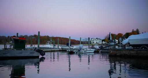 Sunrise time in a small coastal New England Town Footage