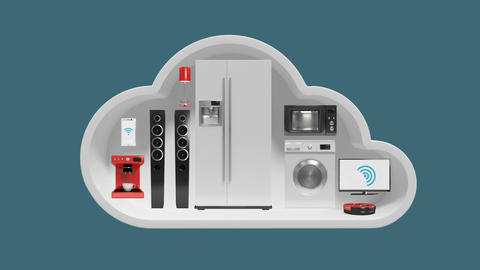 Home appliances in cloud shape for internet of things Live Action