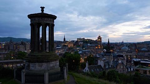 timelapse of sunset over Edinburgh, Scotland GIF