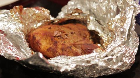 Hot Meat In Foil Footage