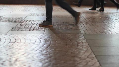 walking feet on pavement Footage