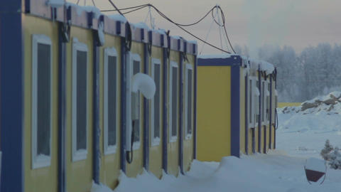 Panorama Prefabricated Lodge for Worker in North Russia Footage