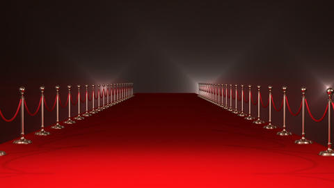 Long red carpet with spotlights against red background Live Action