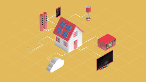 Home appliances connecting through cloud computing Live Action