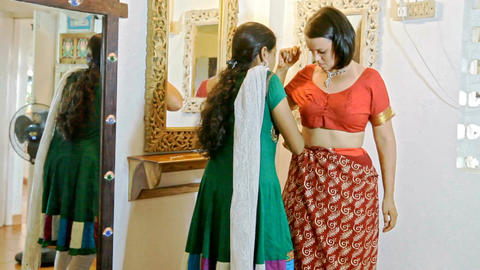Bride Tries on Traditional Indian Wedding Dress Footage