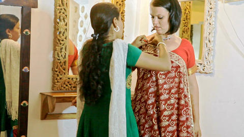 Bride Tries on Indian Skirt for Wedding Ceremony Footage