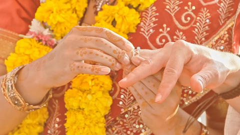 Macro Newlyweds Wear Wedding Rings at Indian Ceremony Footage