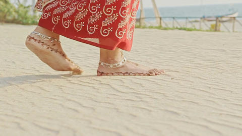 Closeup Girl Feet in Long Walks Barefoot on White Sand Beach Footage