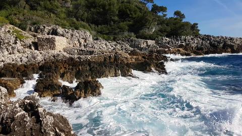 Big Sea Waves Crashing Into Rocks And Exploding Footage