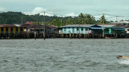 South Eeast Asia Borneo Island sultanate Brunei Bandar water village and boats Footage