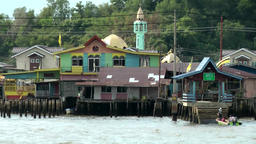 South Eeast Asia Brunei Bandar Seri Begawan mosque on stilts in water village Footage