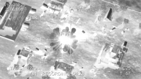 Missile hits the terrorist base, view from the drone 애니메이션