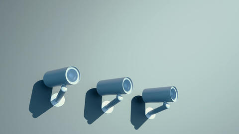 three cctv cameras are watching you Animación
