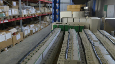 Large Industrial Warehouse with Boxes on Shelves Footage