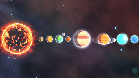 Solar system with sun and planets in a row Live Action