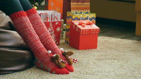 Funny Christmas socks Footage