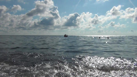 People swimming in Crimean sea in summer Footage