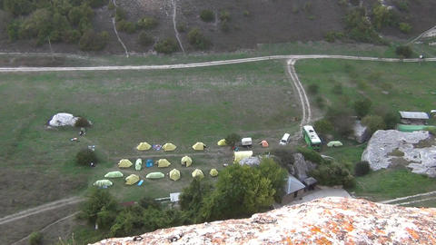 Hiking camp with a lot of tents Live Action