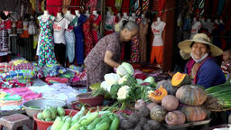 Vietnam Phú Mỹ district villages 066 market women with vegetables Footage