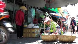 Vietnam Phú Mỹ district villages 071 market woman prepares food Footage