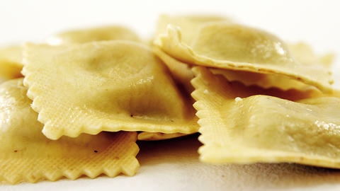 Close-up of stack of homemade ravioli pasta Footage
