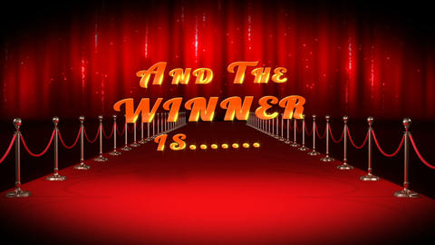 Red carpet with text and the winners are Footage