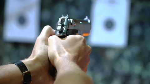 Handgun shooting at a shooting range Footage