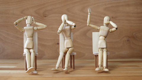 Wooden figurines embody the proverbial principle of see no evil, speak no evil, Footage