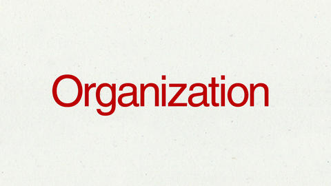 Text animation 'Organization' for topic introduction in Powerpoint presentations Animation