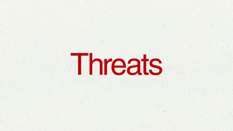 Text animation 'Threats' for topic introduction in Powerpoint presentations Animation