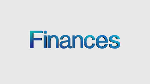 3D Text animation 'finances' for topic introduction in Powerpoint presentatio Animation