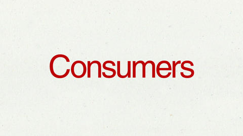 Text animation 'Consumers' for topic introduction in Powerpoint presentations Animation