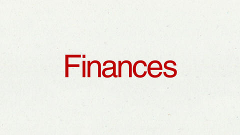 Text animation 'Finances' for topic introduction in Powerpoint presentations Animation