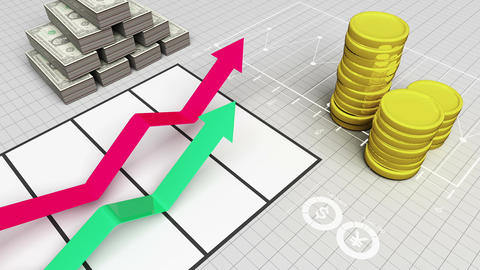 Growing arrow business chart Graph with coins bars and dills Animation