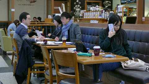 Business People Students Having Breakfast Studying Working In Seoul Bar Footage