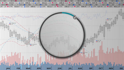 Indicate about 10 percents circle dial on various animated charts (no text) Animation