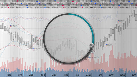 Indicate about 30 percents circle dial on various animated charts (no text) Animation