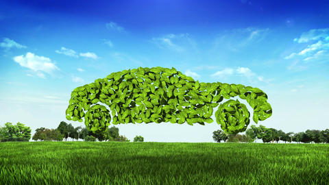 eco green car made from leaves on green field Animation