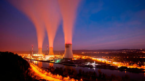 Nuclear Power Station At Night Long Exposure Time Lapse Footage
