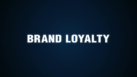 Brands, Usage, Users, Markets, commitment, Text animation 'BRAND LOYALTY' Animation