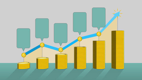 Pile up Golden coins expressed growth profits, and increase infographic box.2 Animation